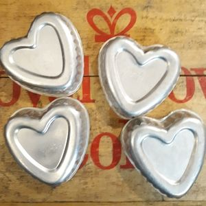Vintage Aluminum Heart Jello Molds/ Set of 4